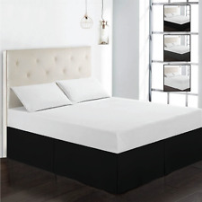 "Bed Skirt Egyptian Comfort Luxury Solid Dust Ruffle Microfiber 16"" Drop Skirts"