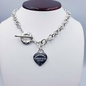 Tiffany & Co. 20″ Please Return To - Sterling Silver Heart Tag Toggle Necklace