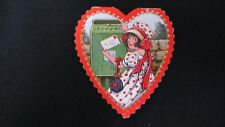 Vintage Darling Victorian Girl & Mail Box Valentine Card c. 1920s