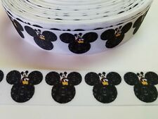 "5 Yards 1"" Mickey mouse Grosgrain Ribbon Hair Bow Supply."