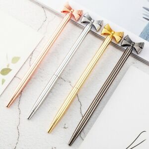 Beautiful New Pen Silver, Gold, Rose Gold or Black with Bow Novelty Gift