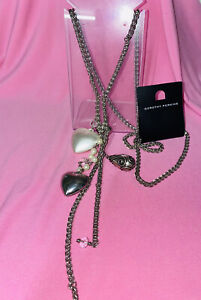 DOROTHY PERKINS heart/bead CHUNKY CLUSTER DROP NECKLACE BNWT
