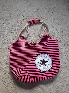 CONVERSE ALL STAR CHUCK TAYLOR PINK BLACK STRIPED BEACH BAG HOLIDAYS HANDBAG