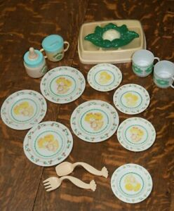 Vintage Cabbage Patch Tea/Dish/ Baby Bottle/Sippy Cup Set 1980's 16 pcs.