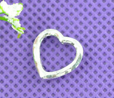 50Pcs Silver Tone Love Heart Bead Frames 14x14mm Findings Jewelry Making Beads