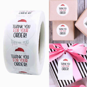Christmas THANK YOU FOR YOUR ORDER Stickers Labels Craft Gift Purchase Business