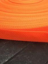 """1 Inch polypropylene Webbing: QTY 1 - 100 Yards -orange- New 1"""" Nylon Strap"""
