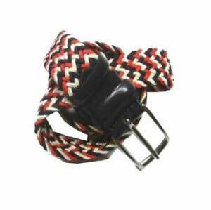 Cintura uomo intreccio pelle blu corda blu bianco rosso