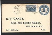 PINE BLUFF,ARKANSAS 1894,#230 COLUMBIAN COVER TO COIN & STAMP DEALER.