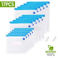 Reusable Vacuum Bags Food Saver Sealer Storage Seal Pouch Bag + Clips 17pcs/set