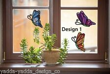"""CLR:WND 3 PACK D1 Butterfly Stained Glass Vinyl Window Decals ©YYDC (4.7""""w x6""""h)"""