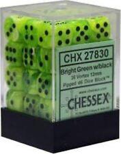 Chessex Dice (36) Block Sets 12mm D6 Vortex Bright Green/ Black 36 Die CHX 27830