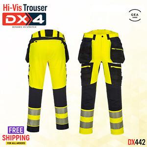 Portwest Hi Vis Detachable Holster Work Trouser Zip Pockets Lightweight DX442