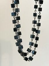 "HAEMATITE 2 Strand Black Bead Necklace 52"" Long (For Balancing & Growing Dreams)"