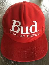 19c8ecb1a32 Vintage Red Bud King of Beers Budweiser Mesh Adjustable Snapback Trucker Hat  I1