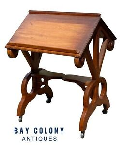 19TH C ANTIQUE VICTORIAN OAK & WALNUT DRAFTING TABLE / DICTIONARY STAND