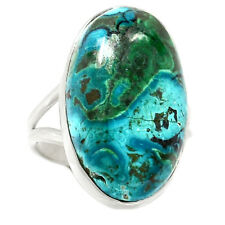 Chrysocolla In Malachite 925 Sterling Silver Ring Jewelry s.8 RR64543