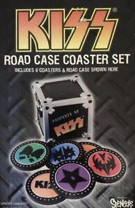 Kiss Road Case Coaster Set. No Cardboard Box Incl. 6 Coasters + Road Case Holder