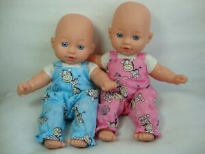 """12"""" Baby dolls clothes boy/girl zebra print dungarees handmade to fit 30cm doll"""