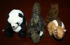 "Lot of 3 Mini Folkmanis Finger Puppets 5"" Panda Bear Brown Chipmunk & 8"" Raccoon"