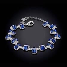 Women Girls Fashion Zircon Beads Bangle Female Royal Blue Jewelry Bracelet Gifts