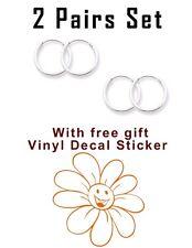 USA Seller 2pairs Set Super Mini Hoop Earrings Sterling Silver 925 Orange Flower