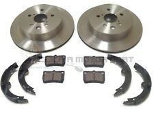 REAR 2 BRAKE DISCS AND PADS & HANDBRAKE SHOES FOR LEXUS GS450H GS460 2005-2011