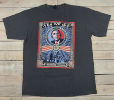 Rare Obey BARACK OBAMA Shepard Fairey YES WE DID Graphic Gray T-Shirt Size XL