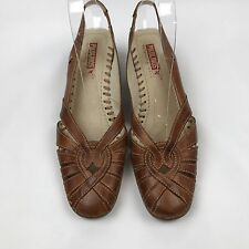 PIKOLINOS Women Brown Perforated Leather Sling Back Kitten Heel Shoes Size 39 8