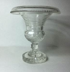 Antique Anglo Irish Cut Crystal Rolled Rim Urn Vase