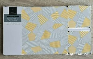 8 Pack Yellow Ochre Grey Striped Pattern Irregular Shape Placemat & Coaster Set