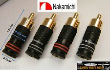 ♫ 4 CONECTORES RCA NAKAMICHI MACHO GOLD 24 K CABLE DE AUDIO DIY ♫