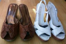 2 PAIRS NEXT SIZE 6.5/40 WHITE/TAN LEATHER WEDGE SANDALS GOOD CONDITION FREE P&P
