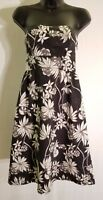 Women's Size 2 OLD NAVY Strapless Dress Floral Print Black Gray White Lined L59