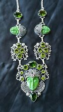 Green jasper necklace carved goddess face amethyst peridot  FREE SHIPPING