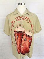 Mens Havanera Co Bongo Rhythms Large Beige S/S Camp Cuba Aloha Shirt Lg
