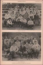 HARVARD & YALE FOOTBALL TEAMS, ANTIQUE PRINT + ARTICLE, AUTHENTIC 1891