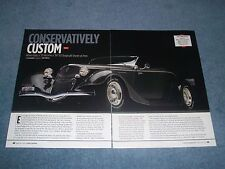 "1934 Ford Roadster Factory Five Street Rod Article ""Conservatively Custom"" 1933"