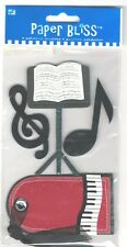 Concert Piano Keyboard Tag Music Stand  *MAY NEED GLUE Paper Bliss 3D Stickers
