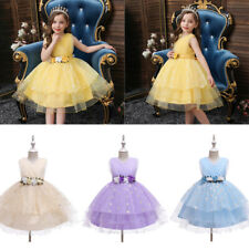 Kids Flower Girls Dress Tulle Tutu Party Wedding Bridesmaid Prom Gown Dresses