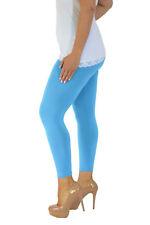 Womens Full Length Leggings Plus Size Ladies Plain Elastic Stretch Nouvelle AU 12-14 Turquoise