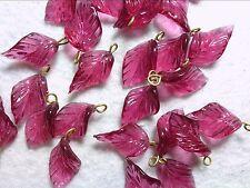 VTG 24 ROSE PINK GLASS CURVY VEINED LEAVES PRESSED BEAD GEM #060713a