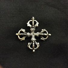 Crossed Vajra Double Dorje Tibetan Buddhist Ritual Item Tibetan Silver Pendant L