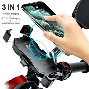 Qi Wireless Charger Mount Stand Holder for Motorcycle Cellphone 15W QC3.0 USB