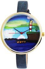 Damenuhr Blau Gold Boot Schiff Hafen Leuchtturm Armbanduhr D-100000300012500