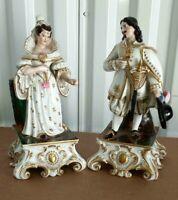 """Antique Continental Porcelain Figurines Couple, XIX C. 9.5"""" H."""