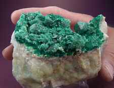 LARGE SHOWY EMERALD GREEN DIOPTASE CRYSTALS w DOLOMITE, TSUMEB MINE, NAMIBIA