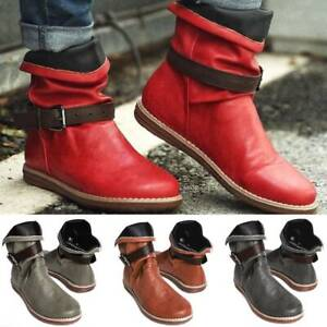 Womens Comfy Ankle Boots Winter Warm Flat Booties Ladies Casual Combat Shoes