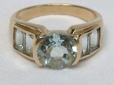 14K Aquamarine Ring Round & Emerald Cut 2.60TCW 5gr YG Semi Bezel