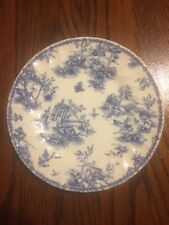 "VINTAGE  Churchill China Ironstone (RARE) 6 1/2"" salad plate  TOILE Blue pattern"